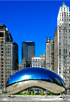 The Cloud Gate Sculpture in Millennium Park, Chicago